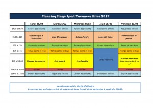 Planning Stage Sport Vacances Hiver 20191