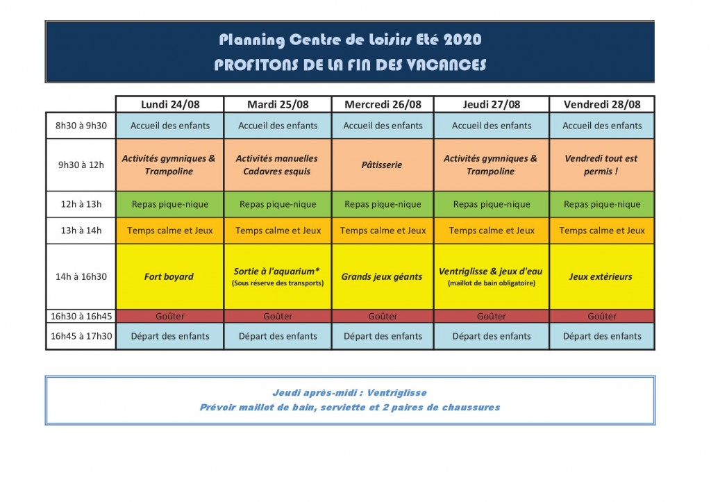 Semaine 4 - Du 24 au 28 aout 2020